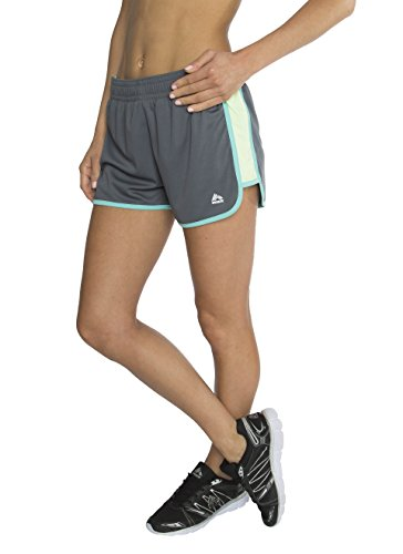 RBX Active Women's Jersey Knit Short With Built-In Panty, Large, Charcoal / Green Combo
