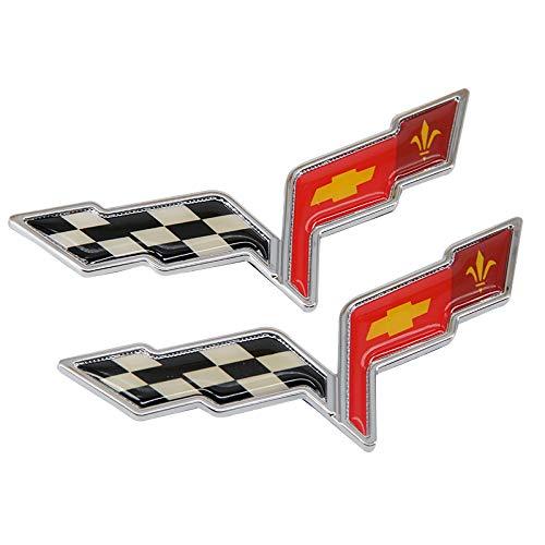 Guzetop 2pcs 3D Front Tailgate Bumper Cover Waterfall Crossflags Emblem fits for 2005-2013 C6 - Corvette C6 Emblem