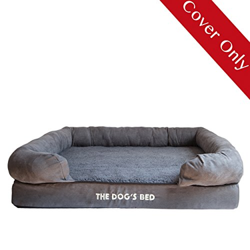 Replacement Cover & Waterproof Inner (Covers ONLY - NO Bed) for The Dogs Bed Orthopedic Memory Foam Dog Bed. Washable Quality Plush Fabric, Large (Grey Plush)