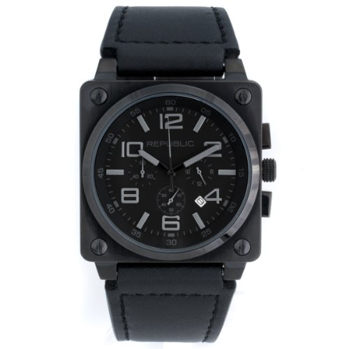 Republic Mens Stainless Steel Black Leather Strap Chrono Aviation Watch