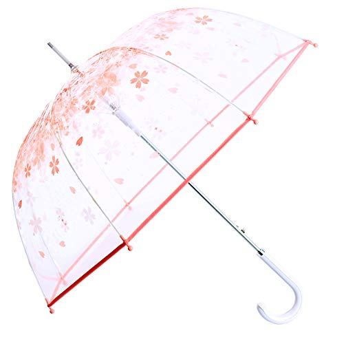 (Kung Fu Smith Women Half Automatic Clear Flower Bubble Dome Shape Wind Stick Rain Umbrella, Pink)