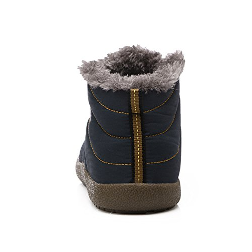 Ankle Women blue Fur Waterproof H for L Boots Booties Winter Snow RUN Womens Boots 4qxwxZ8P