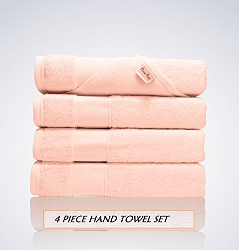 Lint Free 4 Piece Turkish Hand Towel Set Clearance Prime Kitchen Bathroom (Bulk Pack of 4) 700 GSM Quick Dry Off Premium Cotton, Spa Hotel Quality Luxury Reserve Designer 2018 Collection Bundle Pink ()