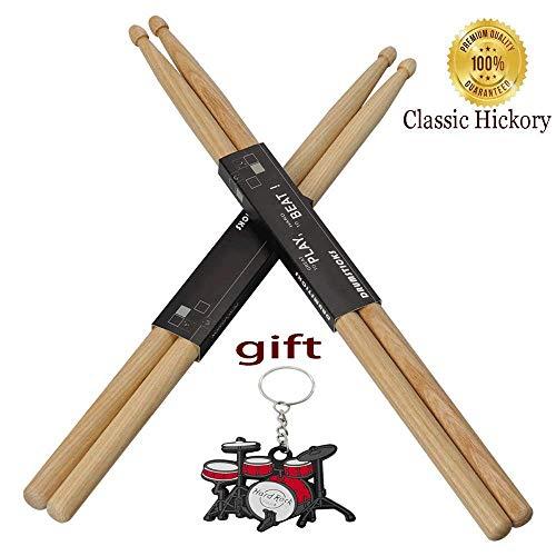 (YXwin Drum sticks 5A Drumsticks Hickory Wood Tip 2 Pack American Classic Drum Stick For Kids Child Adult Men Women Students Children Music Drum Sticks in Rock Jazz Funk Band)