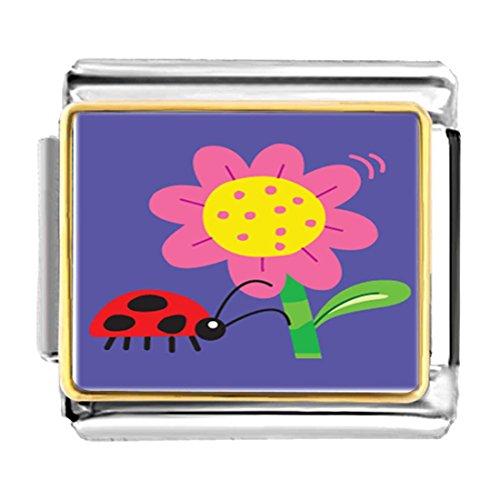 GiftJewelryShop Gold Plated Ladybug Bracelet Link Photo Italian Charm