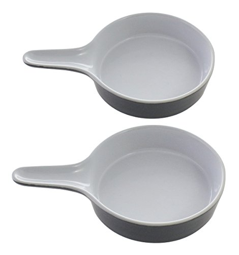 Effective Porcelain Baking Casserole Dishes / Cookware/ Bowls With Handle, A Set of Two, Gray (Porcelain Bakeware)