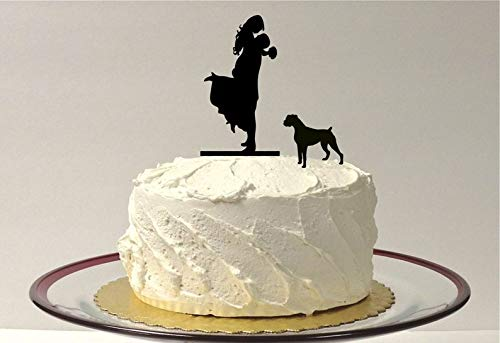 Bull Pit Rottweiler - With Dog Wedding Cake Topper Silhouette Groom Lifting Up Bride Wedding Cake Bride + Groom + Dog Doberman Rottweiler Pitbull