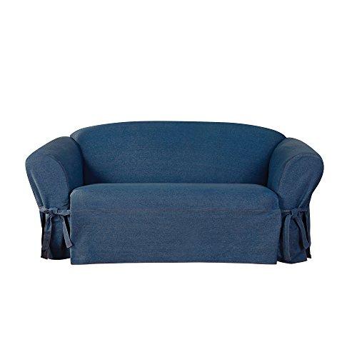 Sure Fit Authentic Denim One Piece T-cushion Loveseat Slipcover - Indigo (SF44455) - Denim Loveseat Slipcover
