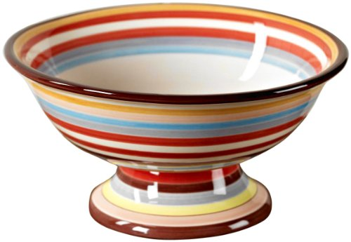 Tabletop Lifestyles 11-Inch Footed Compote, Sedona Stripe