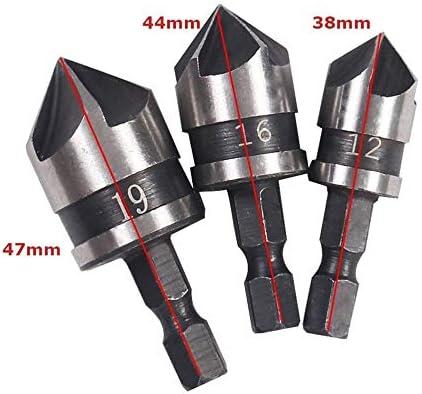3Pcs 1//4Hex 12mm 16mm 19mm Avellanador Broca de taladro el/éctrico para metal de madera