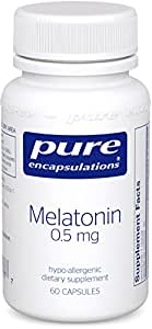 Pure Encapsulations - Melatonin 0.5 mg - Hypoallergenic Supplement Supports the Body's Natural Sleep Cycle* - 60 Capsules
