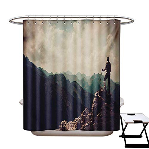 (Mountain Shower Curtains Fabric Woman Hiker on The Top of a Mountain Hobby Climbing Activity Adventure Trekking Bathroom Decor Set with Hooks W48 x L84)