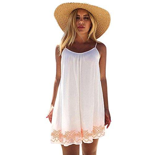 AmyDong Hot Sale! Ladies Dress Women Suspenders Dress Backless Short Summer Evening Party Beach Mini Dress Sundress (L, White) for $<!--$5.08-->