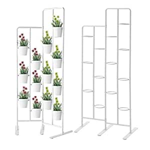 Vertical Metal Plant Stand 13 Tiers Display Plants Indoor or Outdoors on a Balcony Patio Garden or Use as a Room Divider or Vertical Garden Inside Your Home , Also Great for Urban Gardening (White)