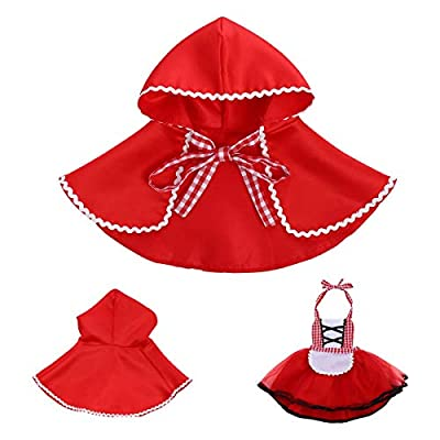 Newborn Baby Girls Little Red Riding Hood Halloween Costumes Cosplay Outfit Cloak Fairy Tale Fancy Dress Up Gown: Clothing