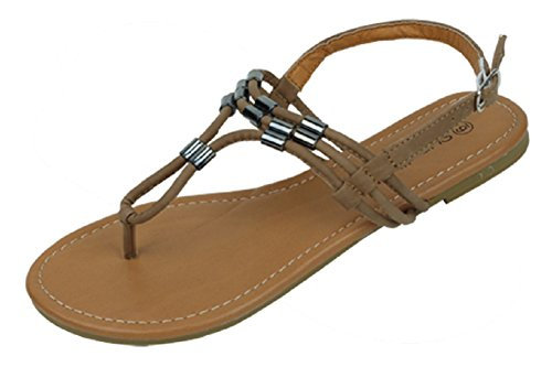 The Bay Womens Roman Gladiator Sandals Flats Thongs Shoes W/Metal Trim,7 B(M) US,Tan 2210