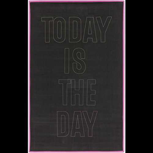 4' x 6' Optimistic Words Hot Pink and Onyx Black Hand Woven Area Throw Rug