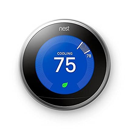 Nest Learning Thermostat 3rd Generation, Stainless Steel, Compatible with Alexa