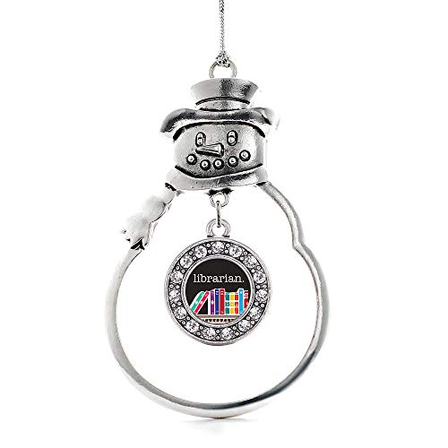 Inspired Silver - Librarian Charm Ornament - Silver Circle Charm Snowman Ornament with Cubic Zirconia Jewelry