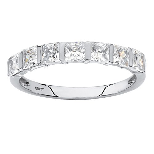 Solid 10K White Gold Square Cut Cubic Zirconia Channel Set Ring Size (Channel Set Czs Ring)