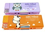 Double-Sided Soft Pen Pencil Case With Magnetic Cover Owl Giraffe 9 x 3.25 Purple Orange (Set of 2)