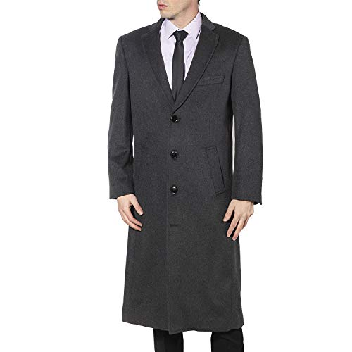 Enzo Tovare Men's 54805 Overcoat Single Breasted Luxury Wool/Cashmere Full Length Topcoat - Charcoal - 36 Regular -