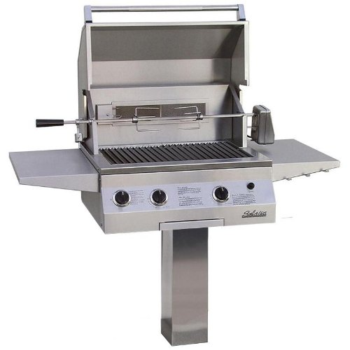 Solaire 27 Inch Deluxe All Convection Natural Gas Grill With Rotisserie On In-ground Post - -
