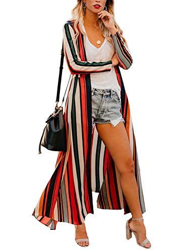 Striped Puff Sleeve Top - Womens Long Robe Striped Beach Wear Cover up Boho Sheer Wrap Casual Tops (3XL)