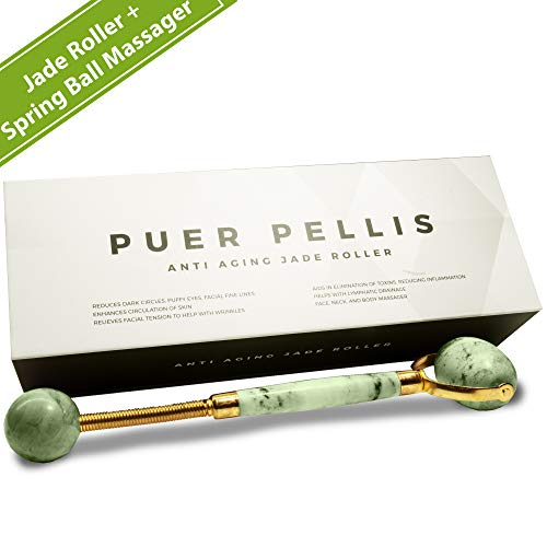 Puer Pellis Jade Roller for Face. Facial Massager, Anti Aging Therapy Natural Roller, Neck Slimming Massage