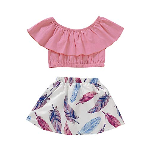 MOLYHUA Girls Outfits, 2Pcs Off-Shoulder Tops + Feather Print Skirt Set (80(12M), Pink)]()
