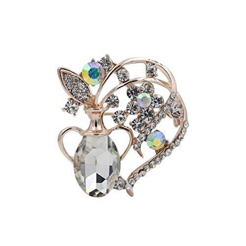 [Totoroforet Flowers in the Vase Zircon and Rhinestones 14K Gold Plating Brooch/Pin-White] (Menorah Dog Costume)