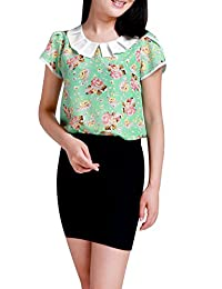 Allegra K Women's Peter Pan Collar Petal Sleeves Floral Top