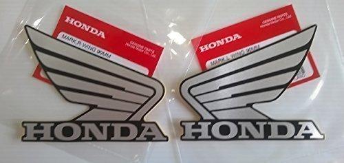 Honda 86202-KYJ-E20ZE / 86201-KYJ-E20ZE - Honda Wings Fuel Tank Gas Tank Stickers Decals 2 X 90MM Silver / Black Left & Right Genuine