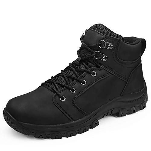 Mens Hiking Trekking Snow Boots Winter Waterproof Shoes Lace Up Anti-Slip Ankle Outdoor Shoes with Warm Fully Fur Lined (Black (Casual), 43)