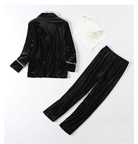 Leeqn Casero Servicio Traje Oro Damas Black Pijama Otoño Terciopelo Caliente Bedgown Camisa Moda Invierno r6ygr4Pz