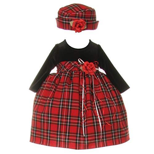 (Baby Girls Black Red Velvet Checker Corsage Hat Christmas Dress 24M)