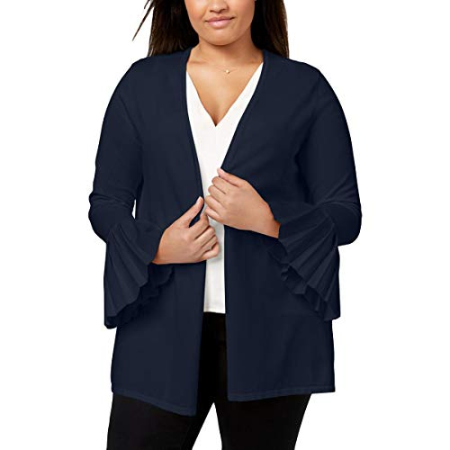 Charter Club Womens Plus Open Front Bell Sleeves Cardigan Sweater Navy ()