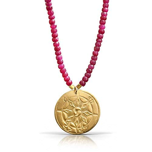Compass Ruby Necklace - 18K Gold Vermeil