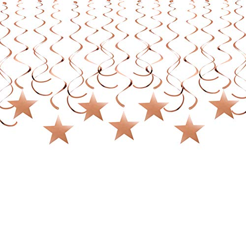 (Rose Gold Twinkle Star Hanging Swirl Decorations Shiny Foil Swirls Plastic Streamers for Ceiling Wedding Baby Shower Birthday Party Decorations, 30)