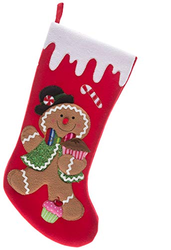 Monogrammed Me Christmas Stocking, Red Gingerbread Boy