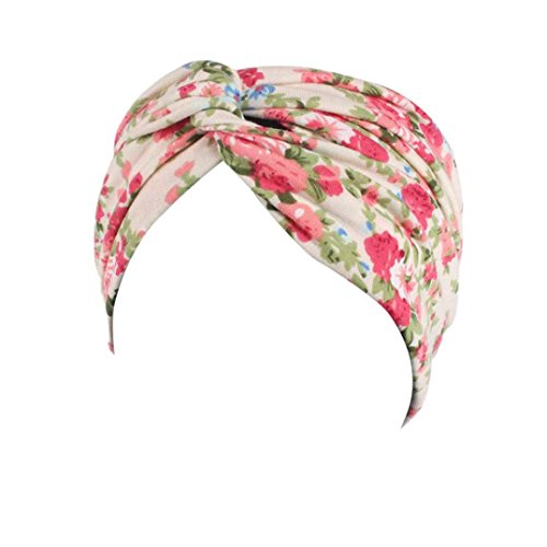 - NEWONESUN Ladies Garden Floral Sports Hair Band Elastic Headband (Beige A)