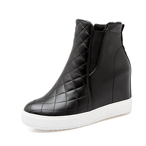 AdeeSu Ladies Platform Heighten Inside Elastic Band Lattice Black Imitated Leather Boots - 10 B(M) US