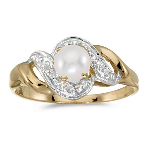 FB Jewels 14k Yellow Gold Genuine Birthstone Solitaire Freshwater Cultured Pearl And Diamond Swirl Wedding Engagement Statement Ring - Size 6