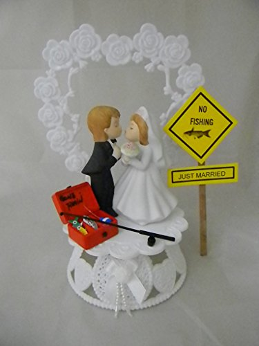 custom wedding cake toppers dubai fishing fisherman just married sign wedding cake topper 13252