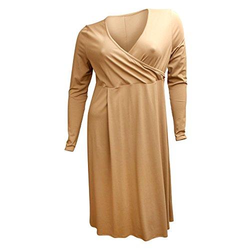Kleid Damen Knielang Linie A CAROLIN Wickeltop RICK Sand waHqIngA