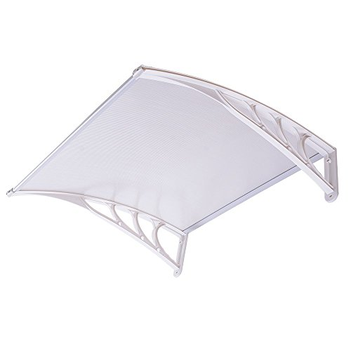 3ft Outdoor Clear PC Hollow Awning Cover Canopy Window Door w/ White ABS Bracket for Patio Weather Resistance Sun Shade UV Rain Snow Protection by Generic