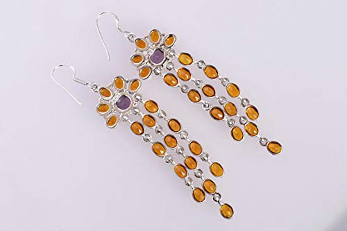 Ravishing Impressions Top Grade Citrine /& Amethyst Gemstone 925 Solid Sterling Silver Handmade Girls Dangle Earrings FSJ-3026