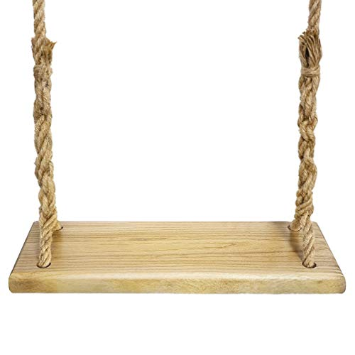 Aoneky Natural Wood Tree Swing Seat, Kids Children Adult Backyard Outdoor Replacement Rope Wooden Swing Set, Round (Square)
