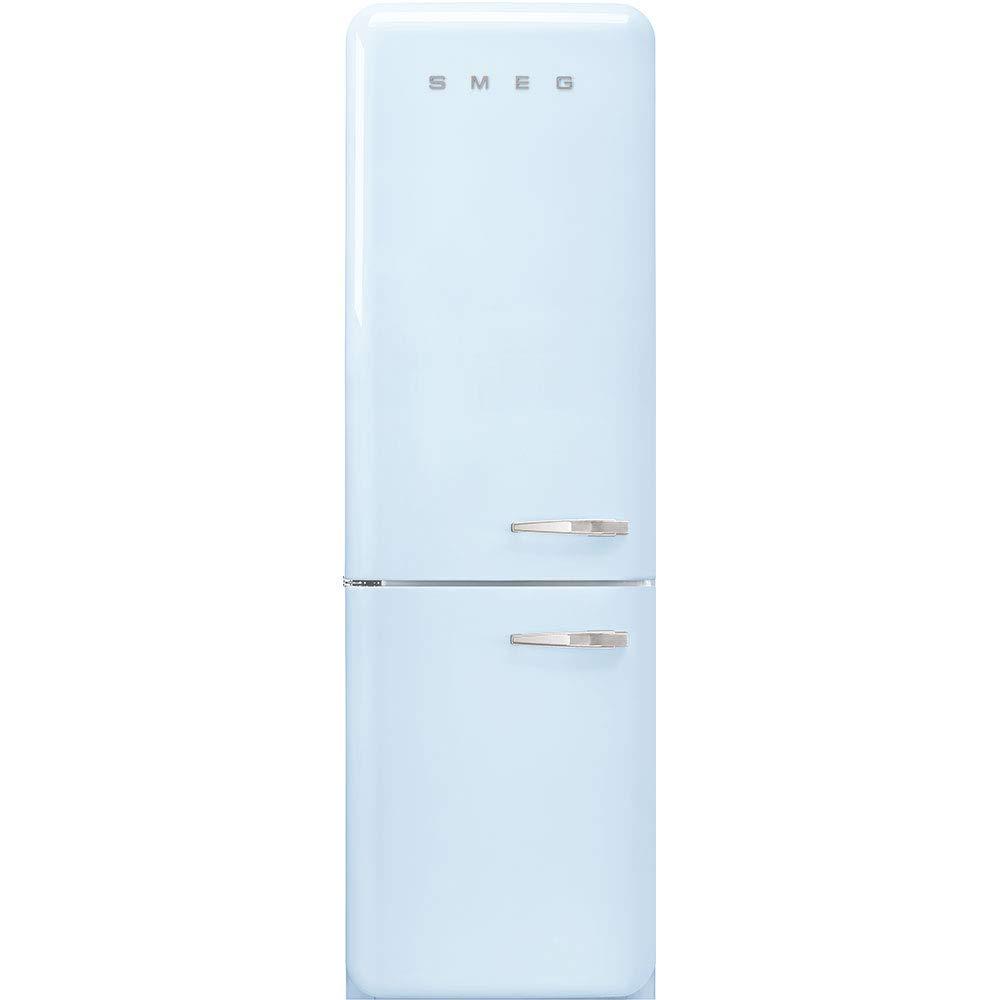 Smeg FAB32ULPB3 Upgraded Model 50s Retro Style Series 24-Inch Freestanding 9 Cu. Ft Refrigerator with 12.5 cu. ft Freezer, 2 Glass Shelves (Pastel Blue Left Hand Hinge)