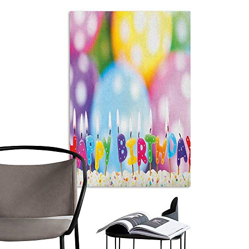 Alexandear Canvas Wall Art Kids Birthday Celebration Colorful Candles on Party Cake with Abstract Blurry Backdrop Multicolor Fashion Stickers for Wall W20 x -